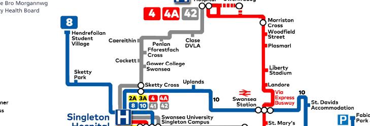 2A, 3A, 4, 4A, 8, 10, 41 and 42 to Singleton Hospital, Swansea.