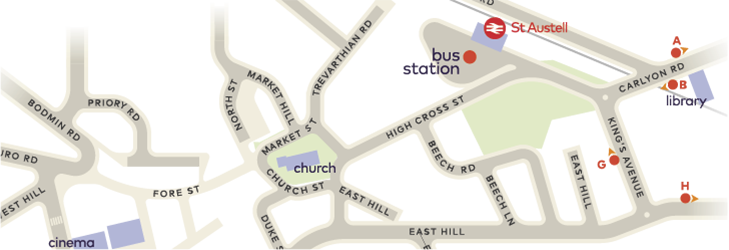 Where to catch your bus in St Austell