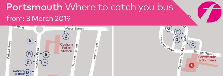Where to Catch your Bus: Portsmouth - 3 March 2019