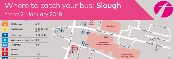 Where to catch your bus in Slough - valid from 21 January 2018