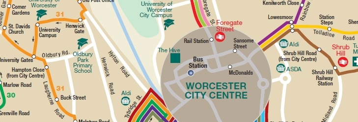 Worcester City network map