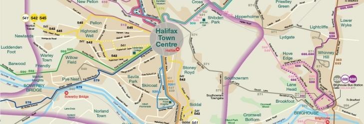Network maps Halifax Calder Valley Huddersfield First UK Bus