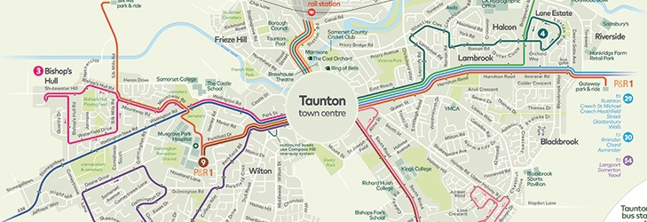 Map Of Taunton Network maps | Somerset | First Bus