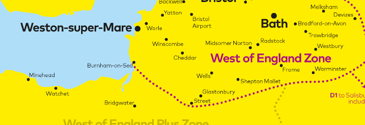 West of England Fare Zone Map