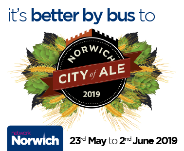 by bus to Norwich City of Ale 2019