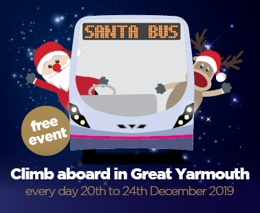Climb aboard the Santa Bus in Gt Yarmouth this Christmas