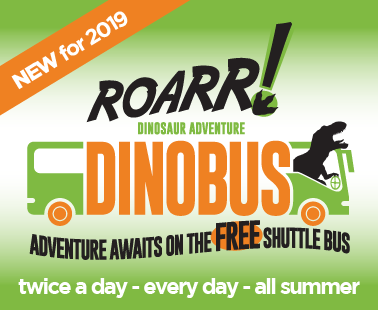 Adventure awaits on the free Roarr! DinoBus