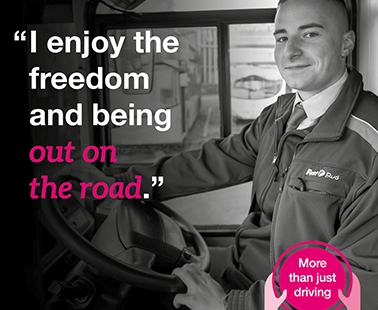 """""""I enjoy the freedom and being out on the road"""" - More than just driving. Image of male bus driver"""