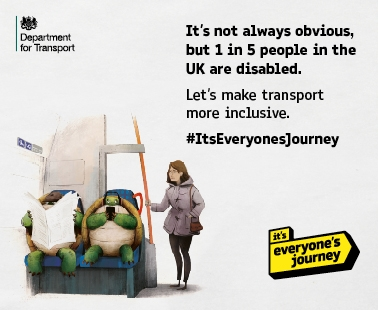 It's not always obvious, but 1 in 5 people in the UK are disabled. Let's make transport more inclusive. #ItsEveryonesJourney