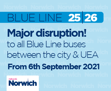 Major disruption to all Blue Line buses between the city & UEA - from 6th September 2021