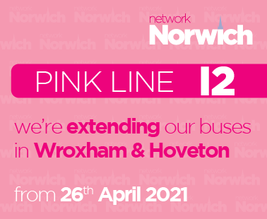 we're extending our Pink Line buses in Wroxham and Hoveton, from 26th April 2021