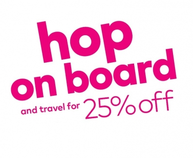 Hop on board and travel for 25% off